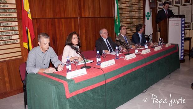 Anibal de la Torre, Isabel Aguilera, Eduardo Serra, Vicente Guzmán, Vicente Fernández Guerrero en el atril, Fernando Seco