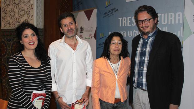 Eva Díaz Pérez , periodista de El Mundo; el autor Javier González-Cotta;  Mercedes de Pablos directora del Centro de Estudios Andaluces y David González, editor de Almuzara.
